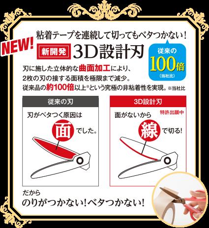 粘着テープを連続して切ってもべたつかない!「新開発」3D設計刃